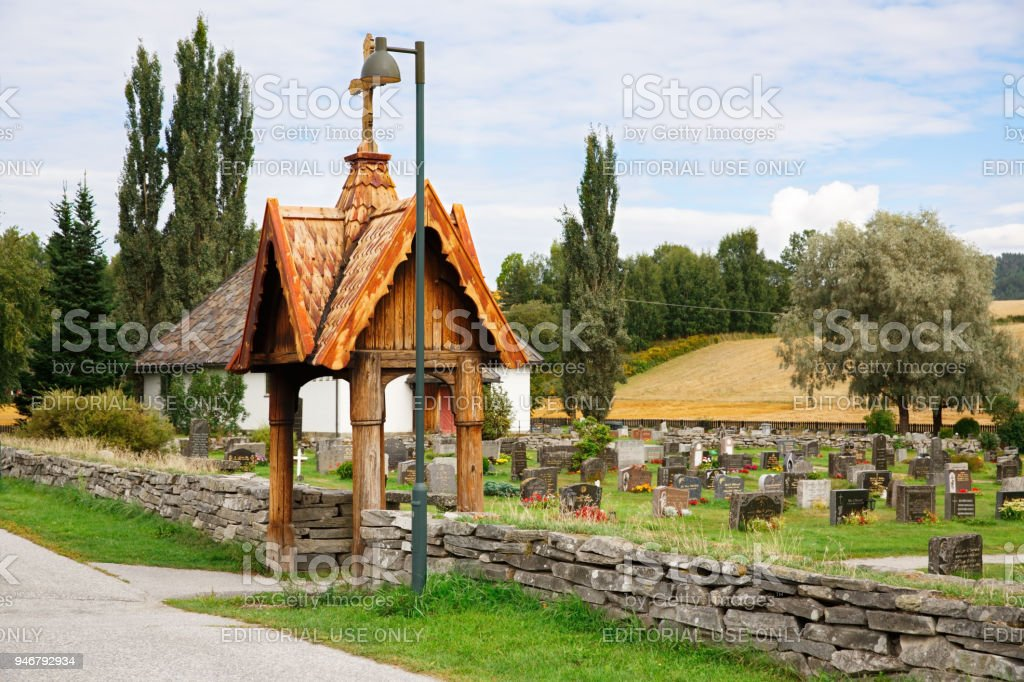 Old cemetery in Norway stock photo