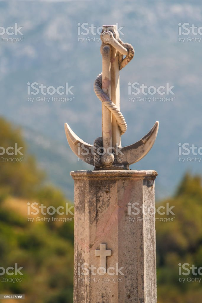 Old cemetery in Orebic, Croatia stock photo