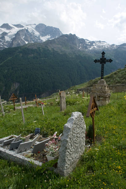 Old cemetery in the mountains. stock photo