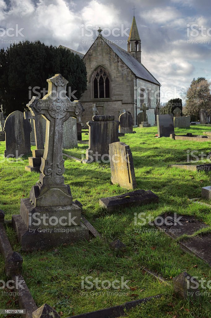 Old cemetery on an overcast day royalty-free stock photo