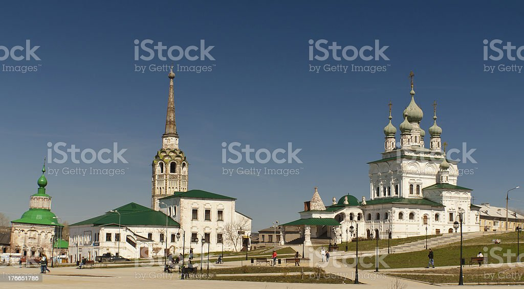 Old center of  Solikamsk town (Perm, Russia) stock photo