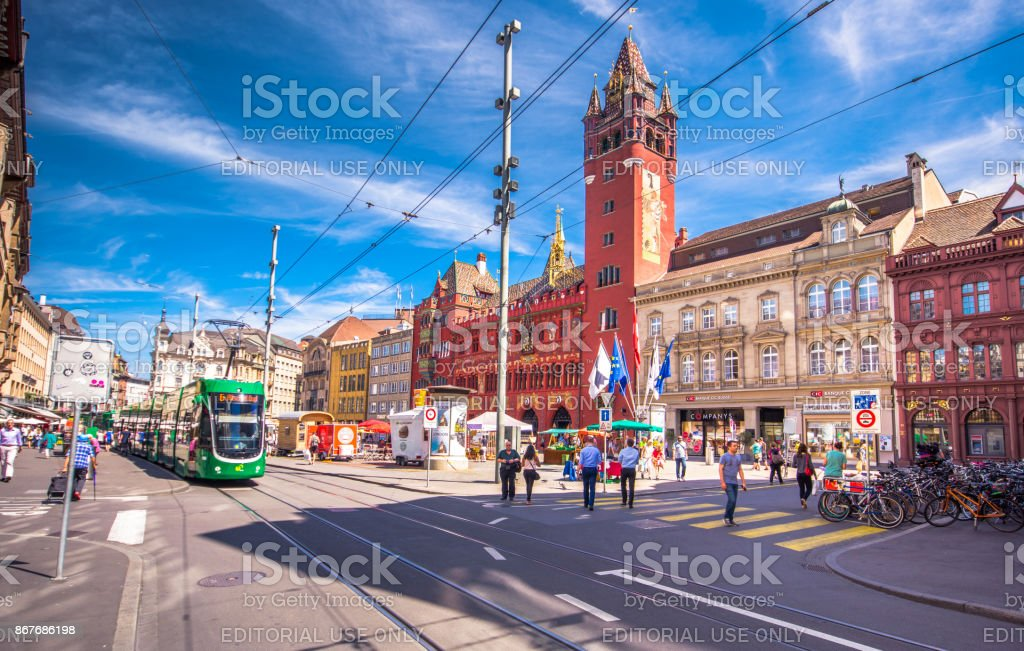 Old center square of the town of Basel, Switzerland on July 05, 2017. stock photo