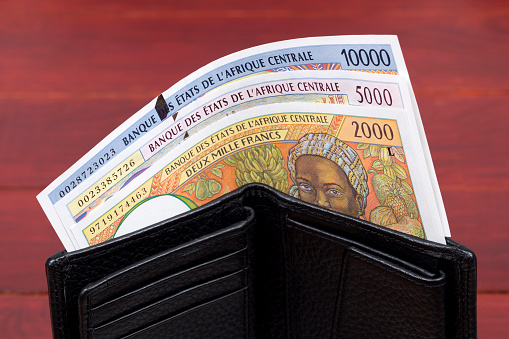 Old Central African States money - franc in the black wallet