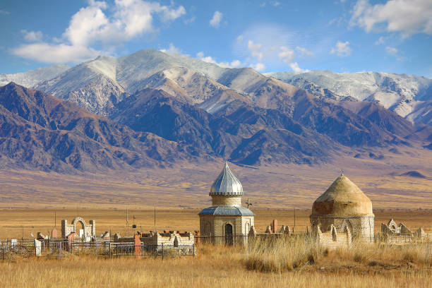 Old central asian muslim cemetery in Kazakhstan stock photo