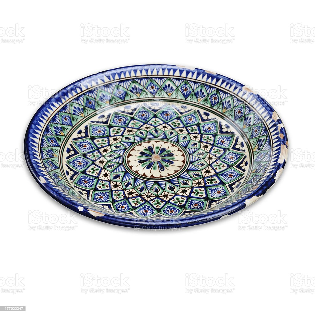 Old ceramic plate on white background royalty-free stock photo