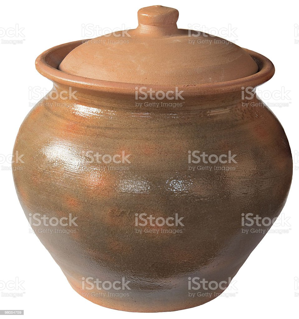 old ceramic pot with a lid royalty-free stock photo