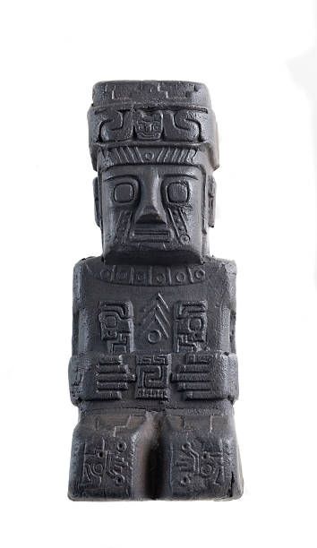 Old ceramic statue  from south america. stock photo