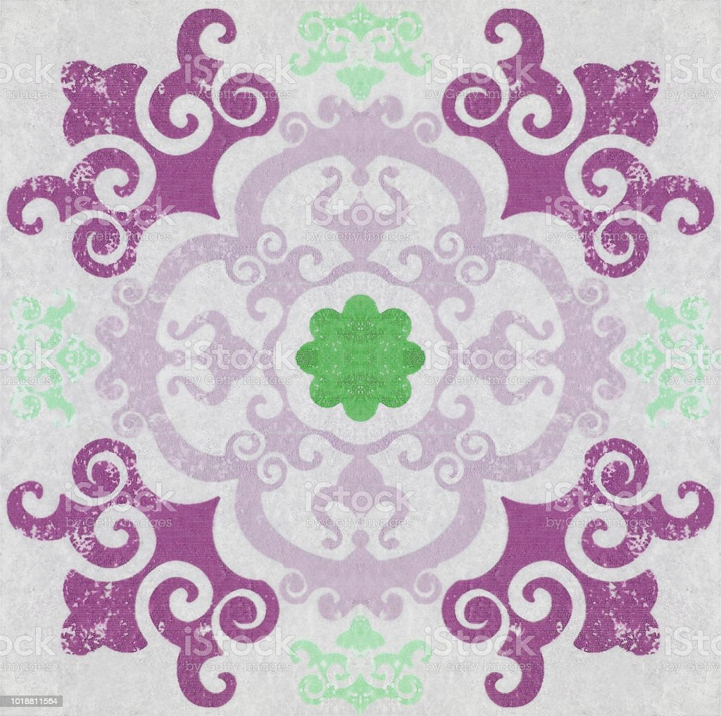 Old ceramic tiles patterns background in the park public stock photo