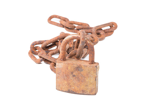 old chain lock by the key isolate on white