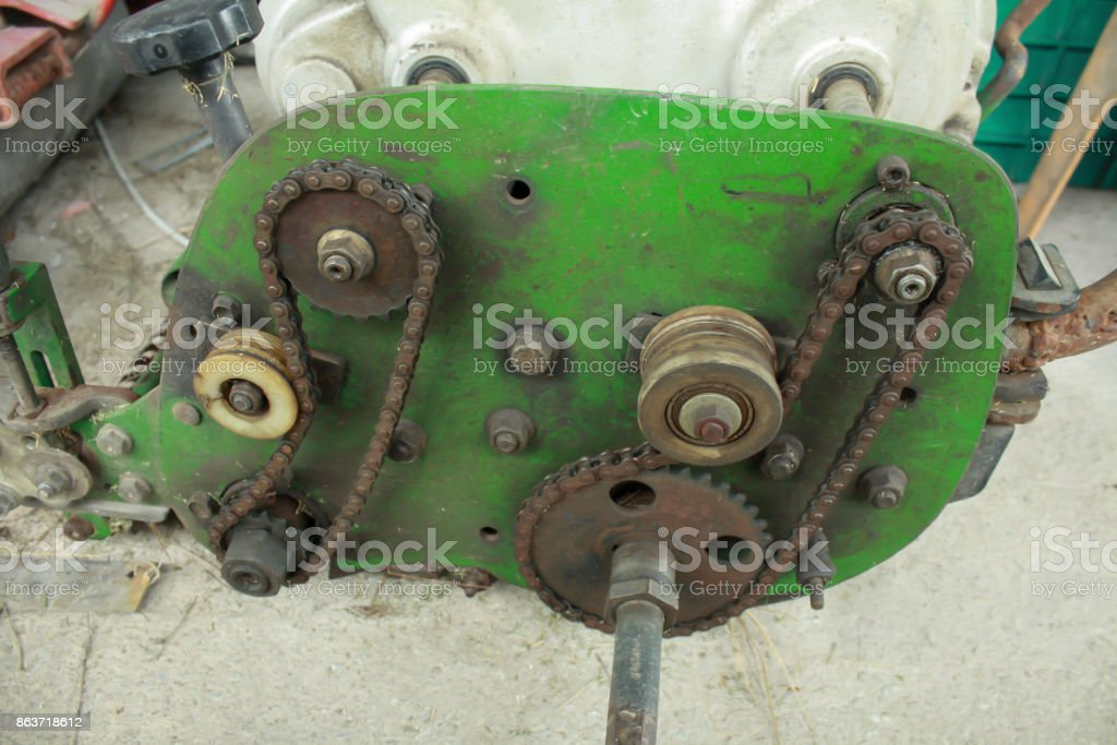 Old chain of mowers.old grass Mower stock photo
