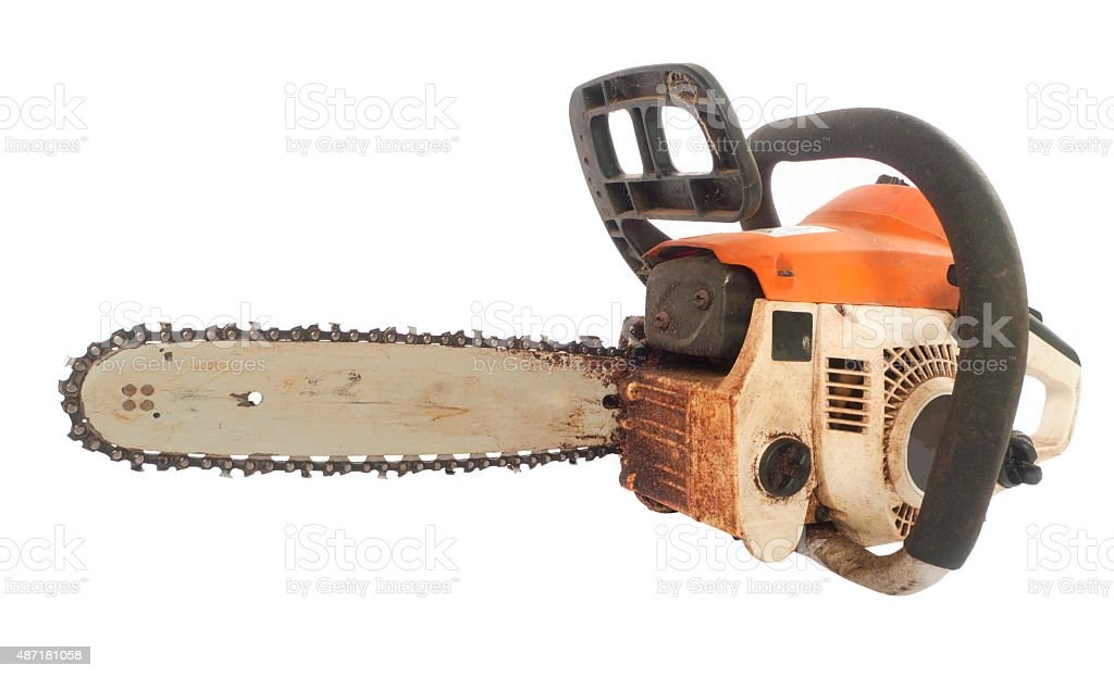 Old chain saw stock photo