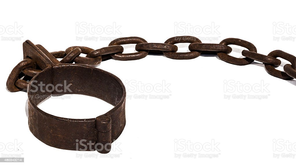 Old chains, or shackles, used for slaves stock photo