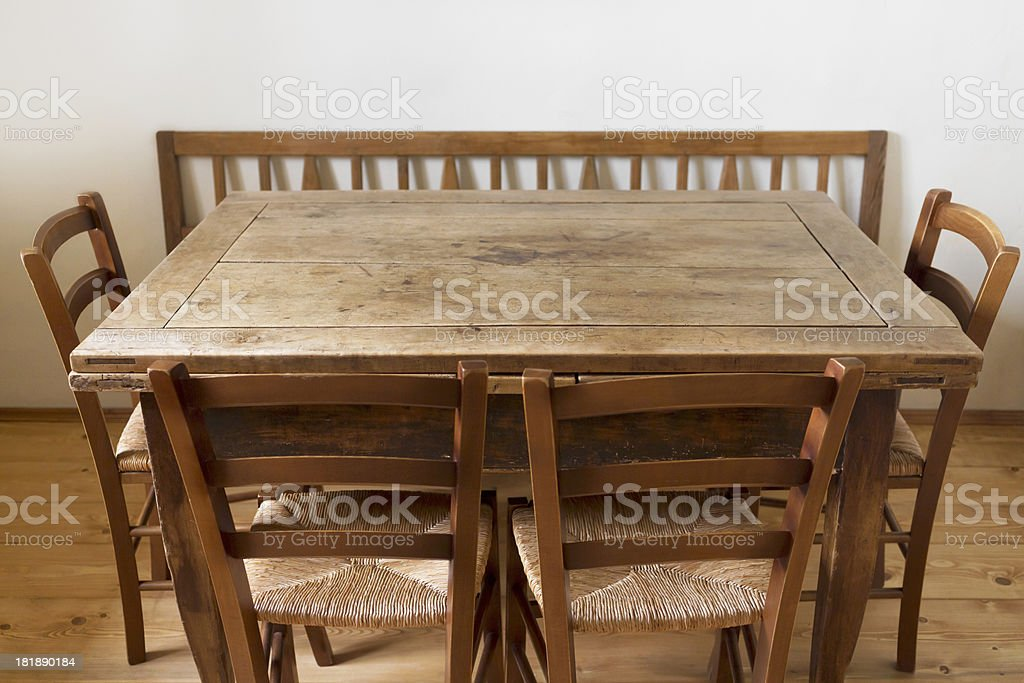 Old chairs and table stock photo