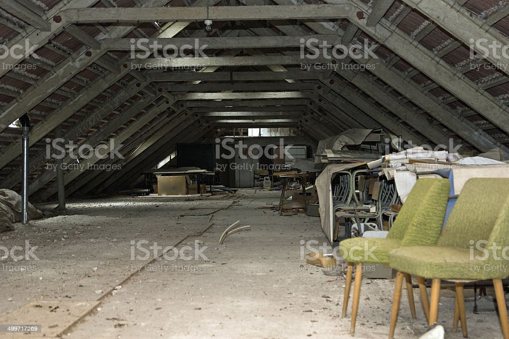 Old chairs in the loft stock photo