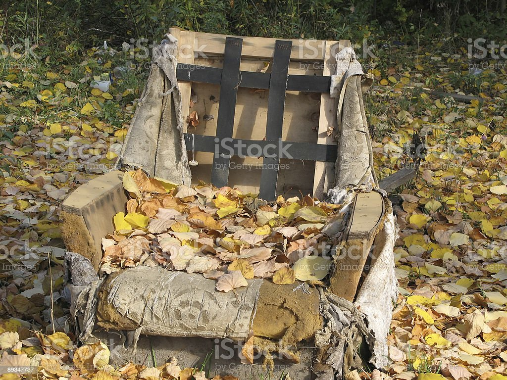 old chairs, under the autumn leaves royalty-free stock photo