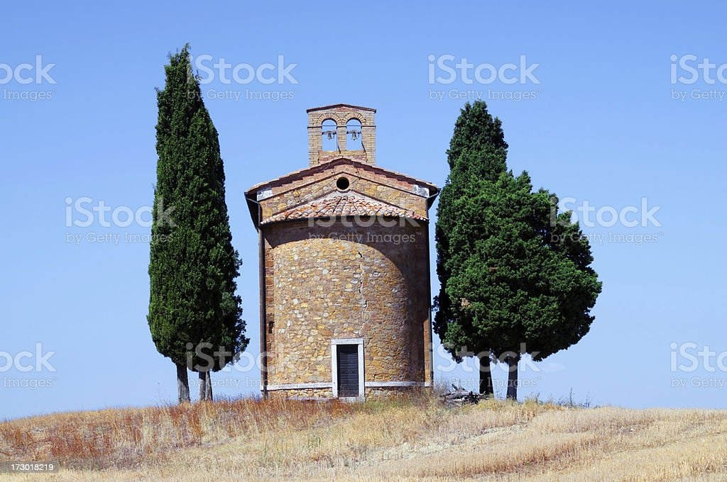 Old Chapel and Cypress Tree royalty-free stock photo
