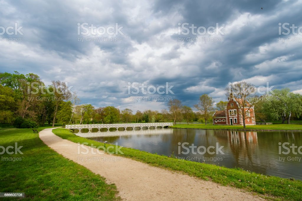 Old chapel near lake in Hungary royalty-free stock photo