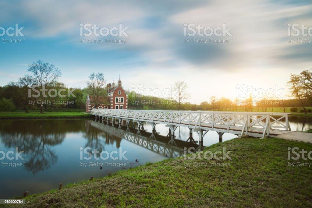 在匈牙利湖附近的老教堂 免版稅 stock photo