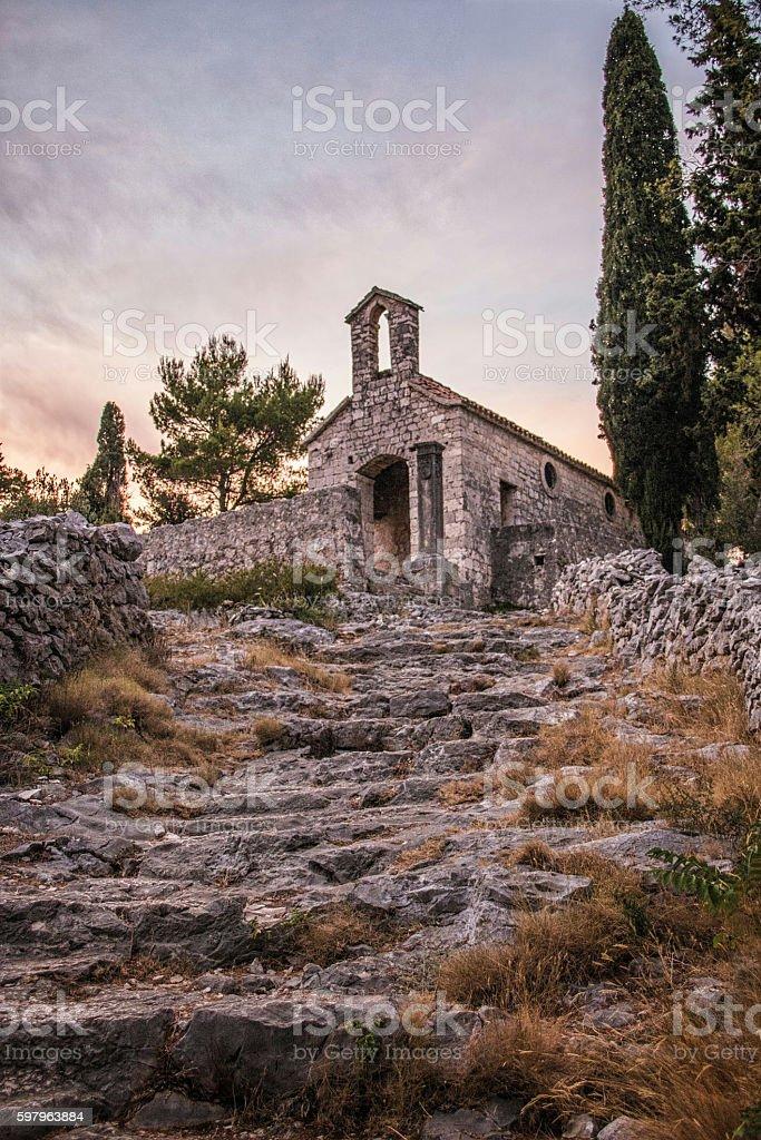 Old chappel in Hvar island on Adriatic sea, Dalmatia, Croatia stock photo