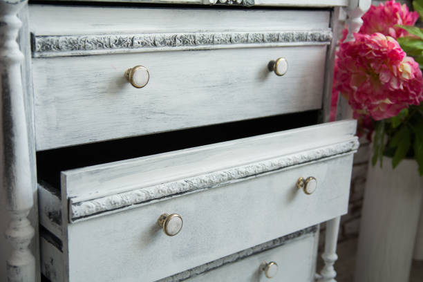 Old chest of drawers with an extended box stock photo