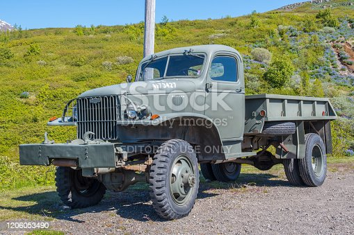 Reydarfjordur Iceland - June 10. 2019: Old Chevrolet military truck at the Icelandic wartime museum