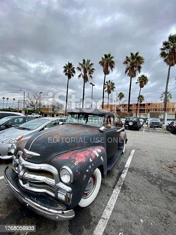 Santa Monica, USA - December 23, 2019: Old Chevrolet parked near Vons Supermarket in Santa Monica, USA