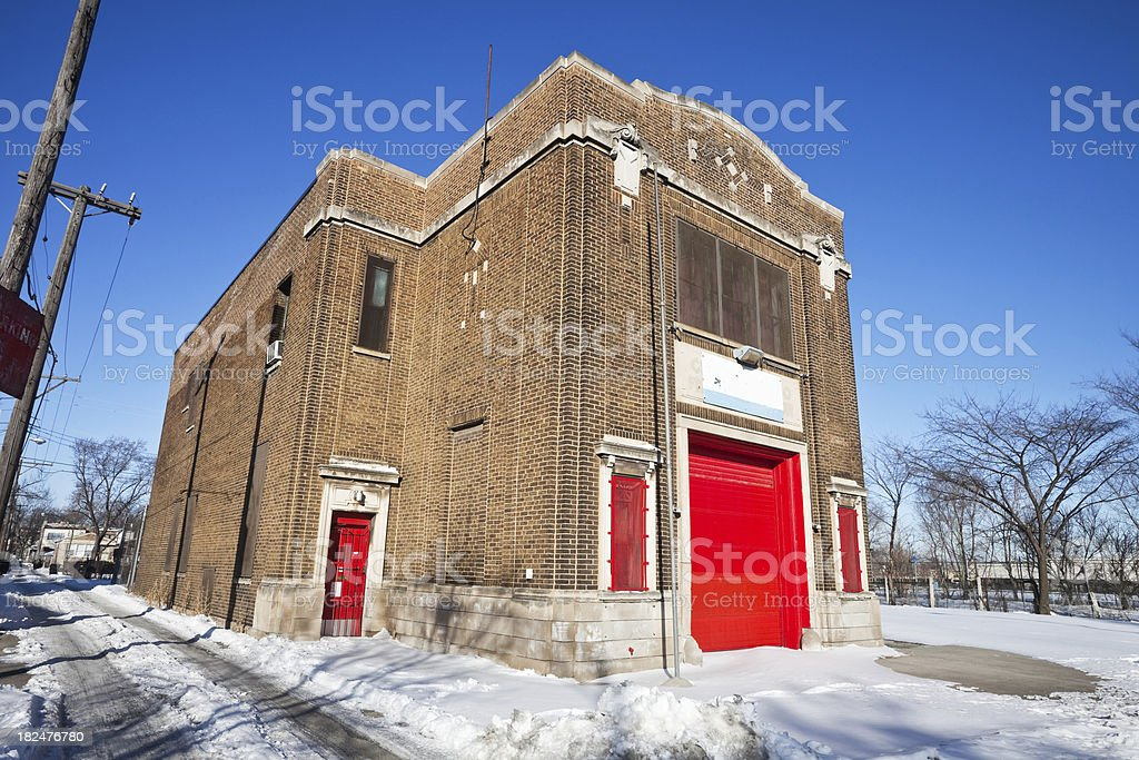 Old Chicago Fire Station in Humboldt park royalty-free stock photo