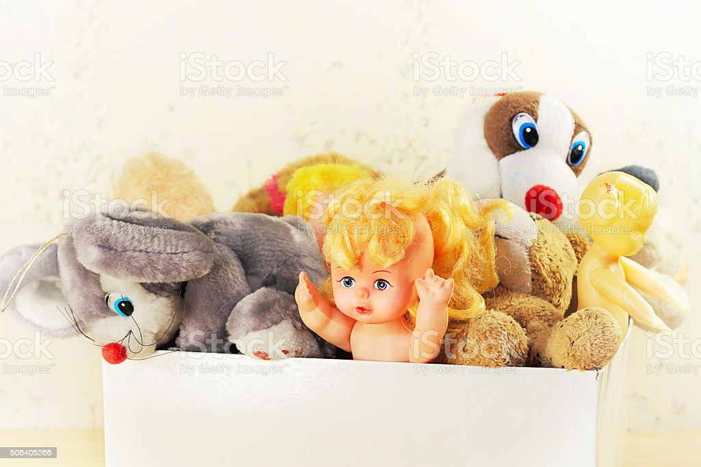Old childrens toys stock photo
