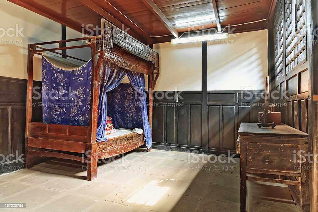 Old Chinese Bedroom Indoor Stock Photo