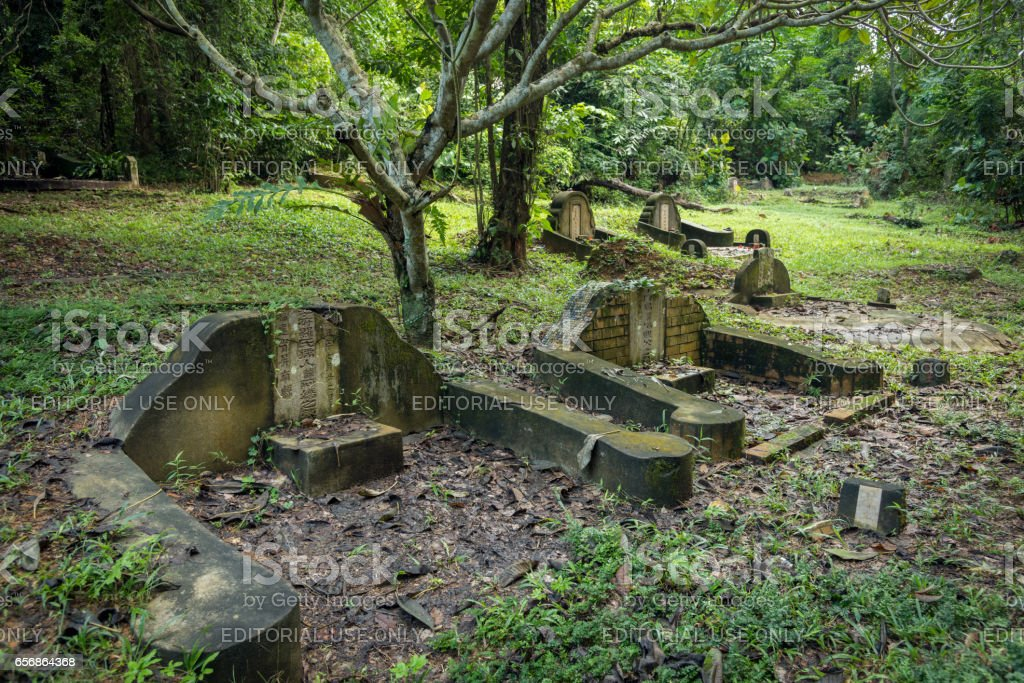 Old Chinese cemetery on Pulau Ubin stock photo