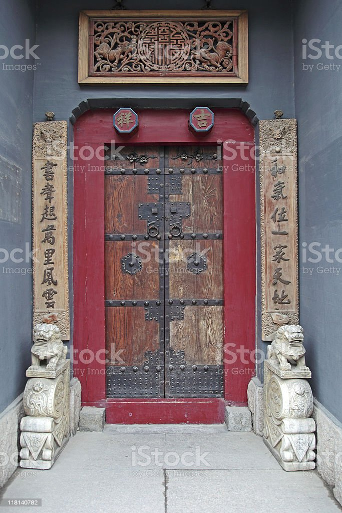 Old chinese door of a tempel royalty-free stock photo