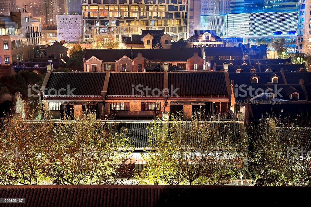 Old Chinese Houses High Rises Xintiandi Luwan Shanghai China at stock photo
