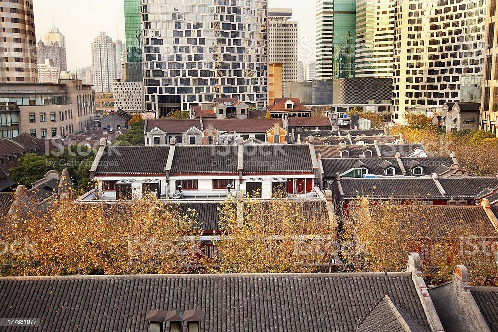 Old Chinese Houses High Rises Xintiandi Luwan Shanghai China stock photo