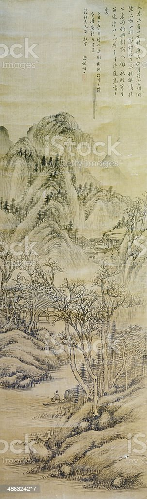 Old chinese ink painting showing traditional subject of asian life stock photo