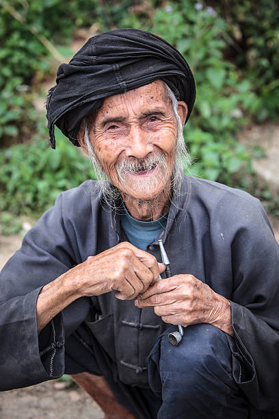Old chinese man stock photo