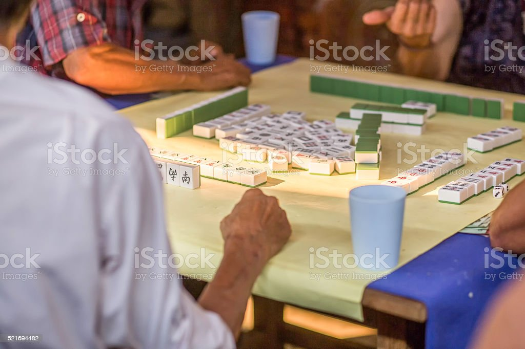 Old Chinese People Playing Mahjong Chinese Card Games Stock