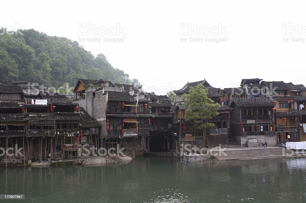 Old Chinese River Village stock photo