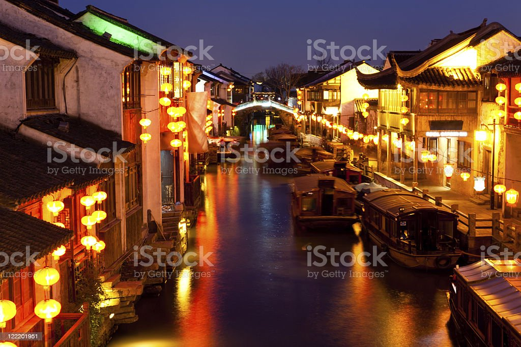 old Chinese town at night royalty-free stock photo