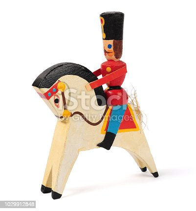 old Christmas decorations, wooden figure hussar isolated over white background