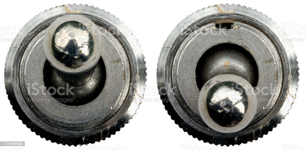 Old chrome toggle switch stock photo