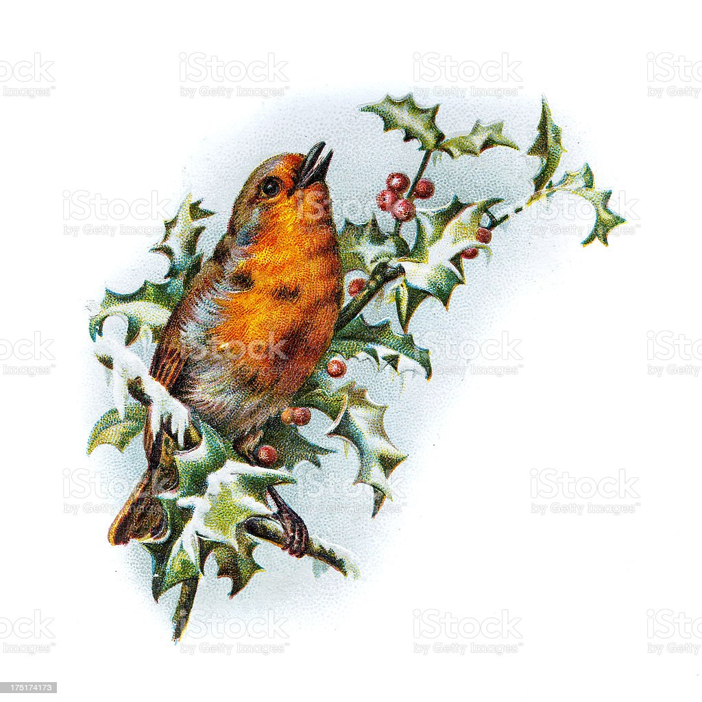 Old Chromolithographic Greetings Card with Robin and Holly stock photo