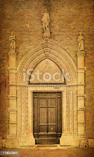 istock Old Chruch Gate of Frari Venice 118043641