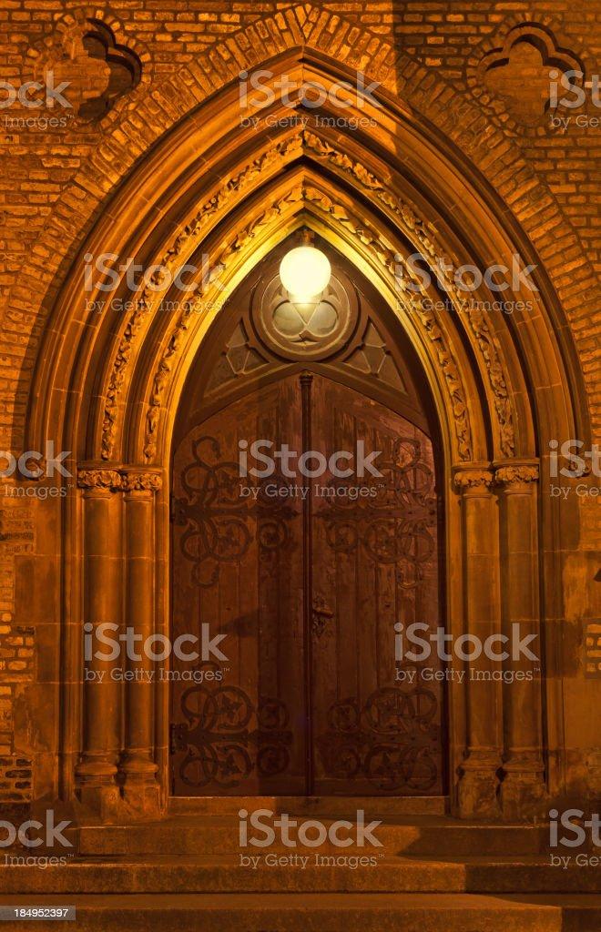 Old Church door at night royalty-free stock photo