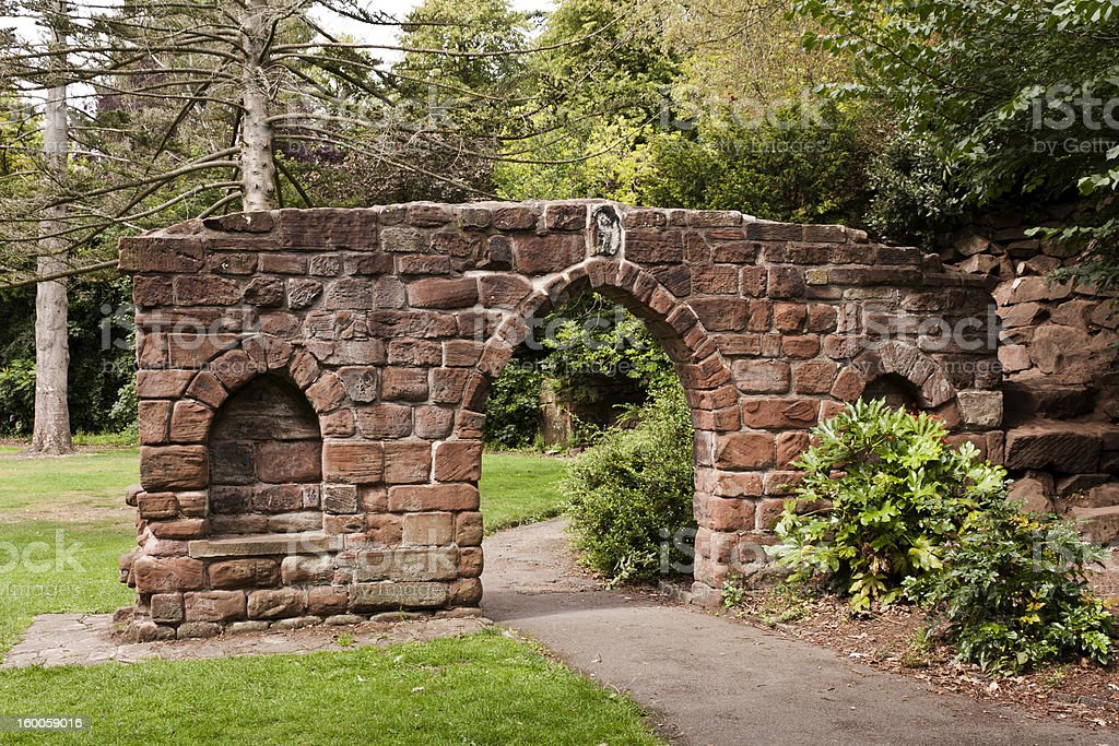 Old church Doorway in  Grosvenor Park, Chester. royalty-free stock photo