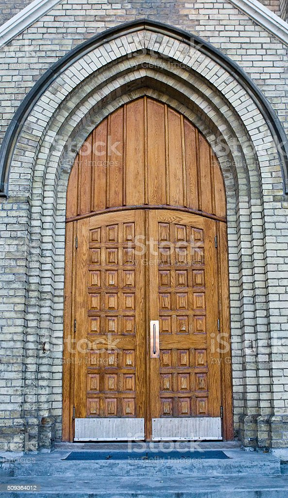 Old Church Entrance with Doors Closed stock photo