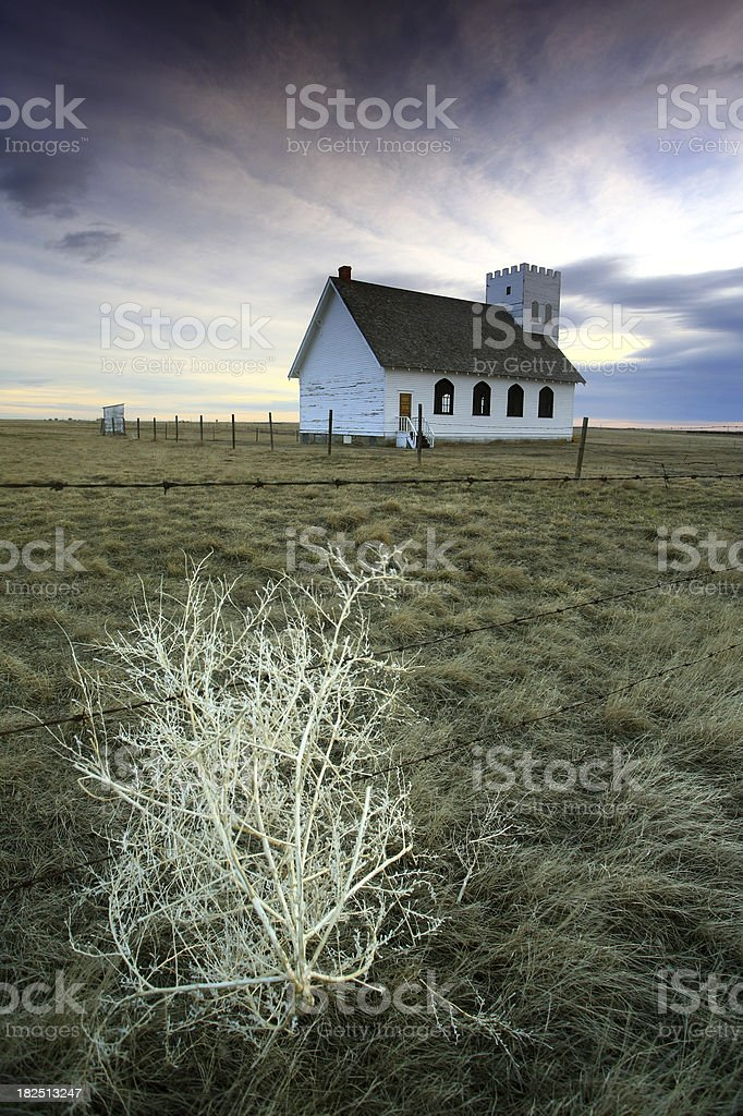 Old Church in a Prairie Ghost Town royalty-free stock photo