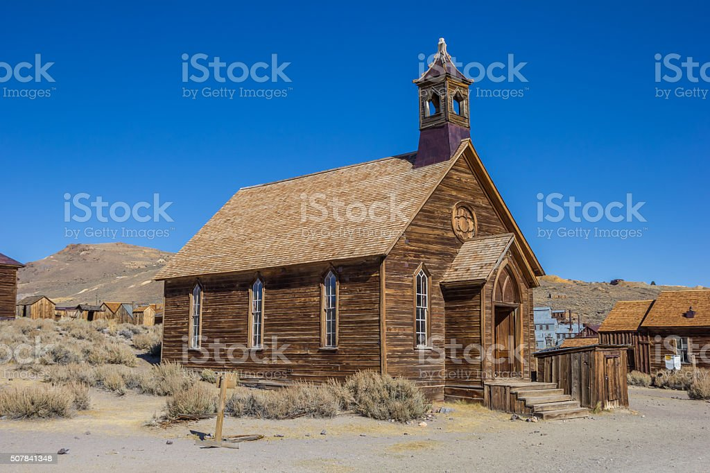 Old church in abandoned ghost town Bodie stock photo