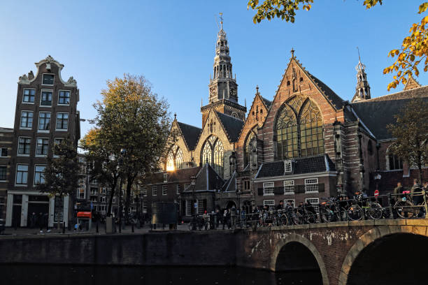 Old Church in Amsterdam, Holland stock photo