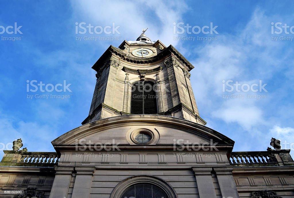 Old church in Birmingham city center, on sunny day stock photo