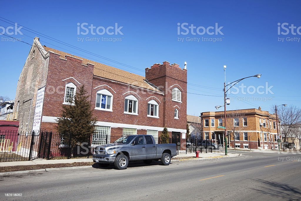 Old Church in Brighton Park, Chicago royalty-free stock photo